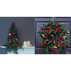 Holly Christmas Set of Wreath and Mini Tree