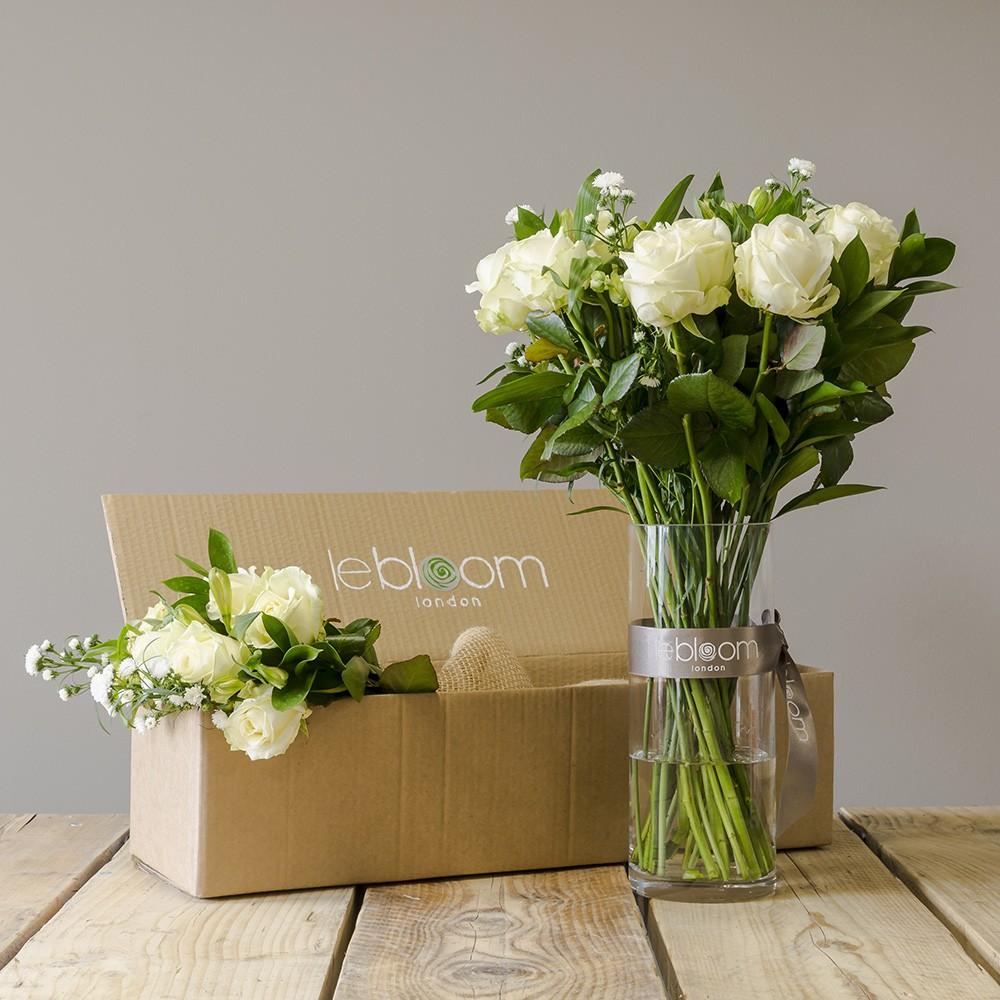 Flower Box 12 White Roses