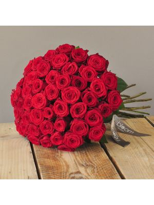 50 Red Naomi roses in bouquet