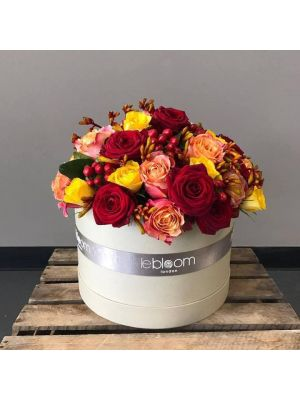 Mix of Yellow, Red and Peach Rose Hatbox with kangaroo paw flowers
