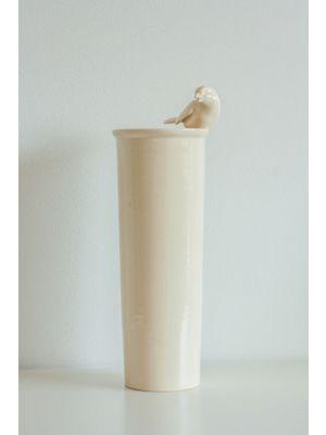 Cream colour handmade vase with bird details