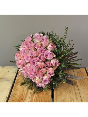 bouquet of 50 Memory Lane rose with eucalyptus leaves