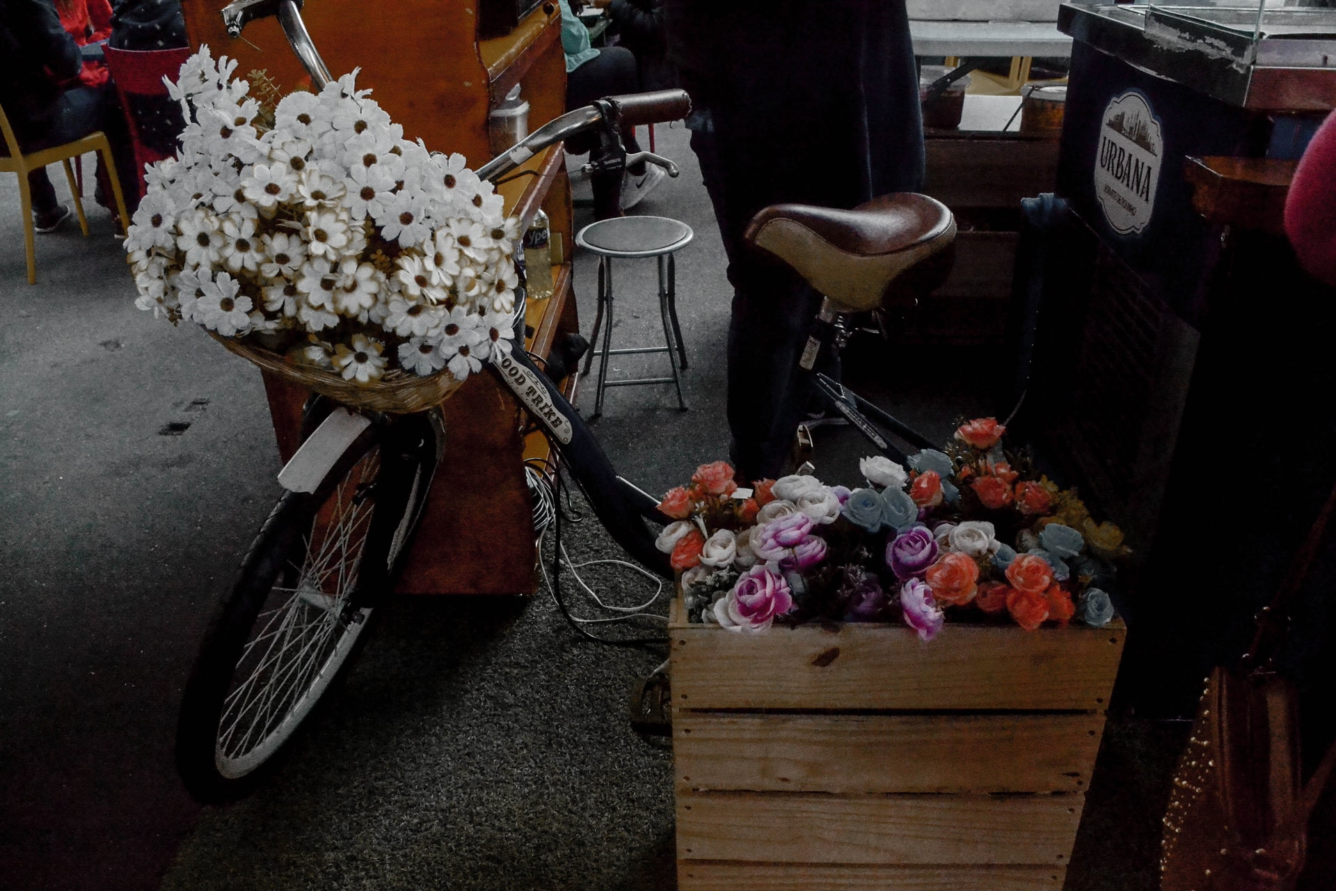 delivery of flowers with bike